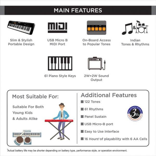 Casio CT-S100 features