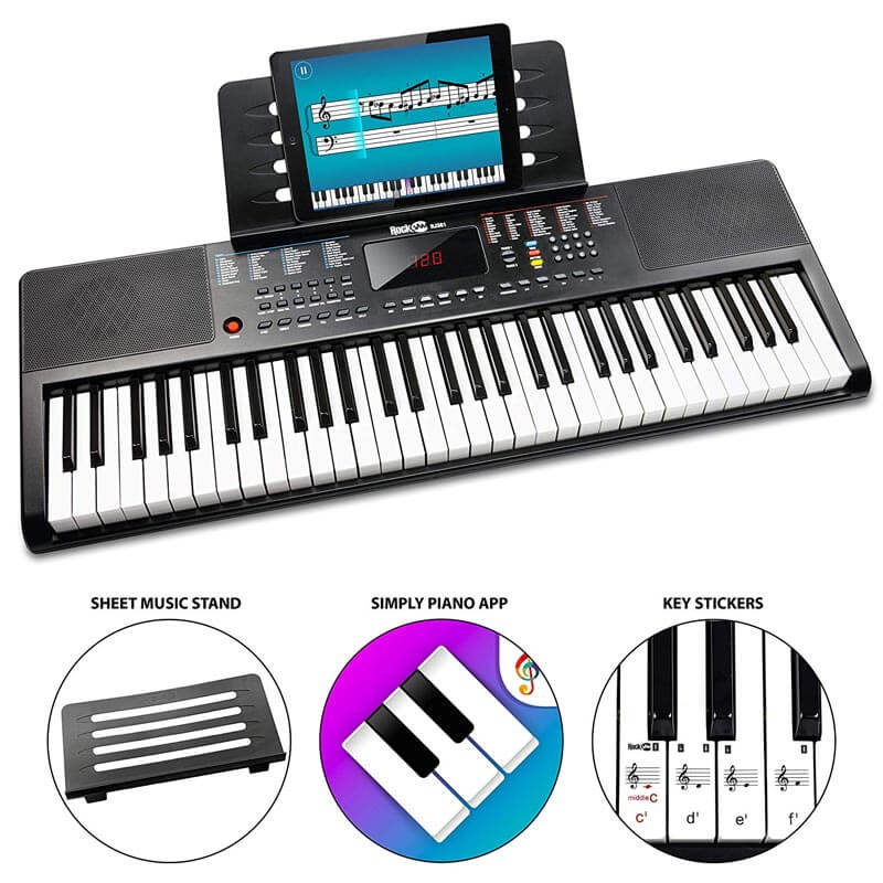 RockJam RJ361 61-Key Portable Electric Keyboard Piano