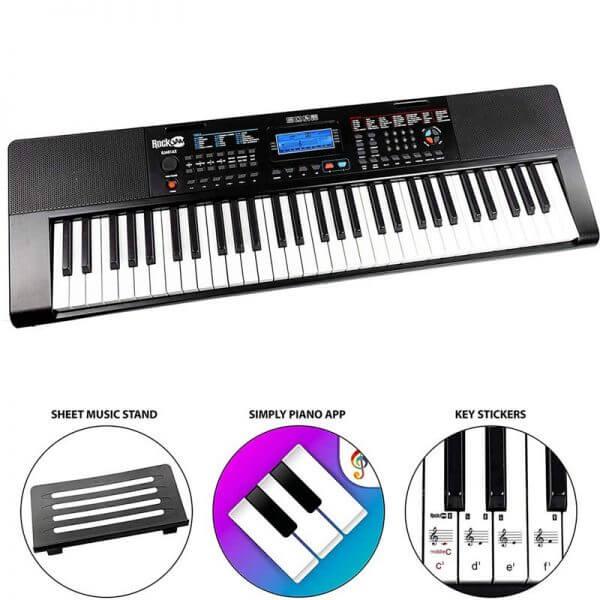 RockJam RJ461AX 61-Key Alexa Portable Digital Piano Keyboard