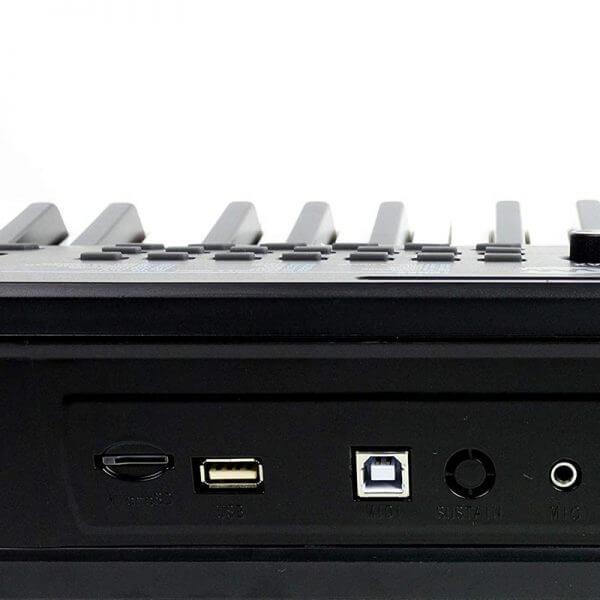 RockJam RJ461AX 61-Key Alexa Portable Digital Piano Keyboard - inputs and outputs