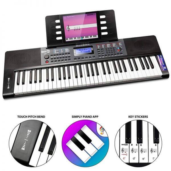 RockJam RJ461 61-Key Portable Electric Keyboard