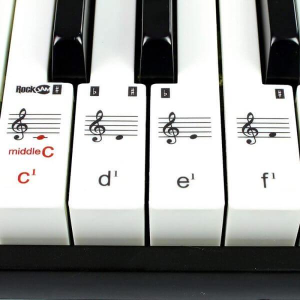 RockJam RJ461 61-Key Portable Electric Keyboard - key stickers