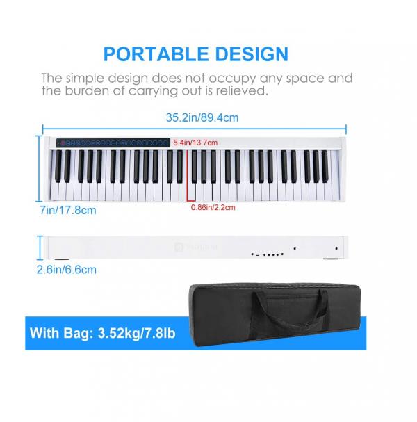 Vangoa VGD611 electric keyboard dimensions